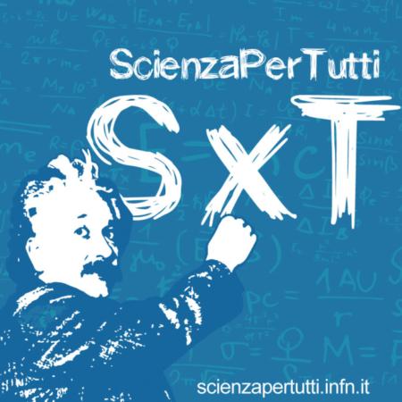 L'immagine rappresenta il logo di ScienzaPerTutti: disegno di Albert Einstein scrive SxT