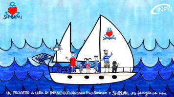 Copertina della serie La fisica fra le onde, con una barca in acqua su fondo blu