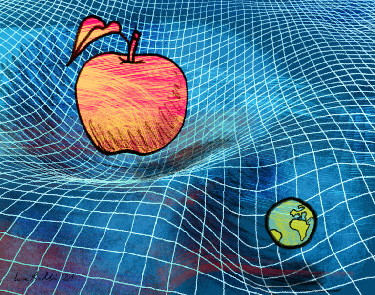Una mela e il pianeta Terra, di quasi quattro volte più piccolo, incurvano lo spazio-tempo