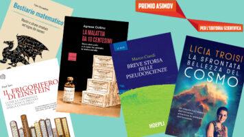 collage delle copertine dei 5 libri finalisti di Asimov 2022